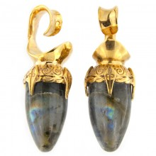 Brass Ear Weights with Labradorite Drop Stone (price for pair)