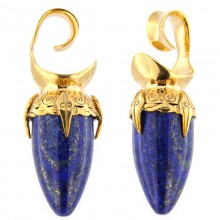 Brass Ear Weights with Lapis Lazuli Drop Stone (price for pair)