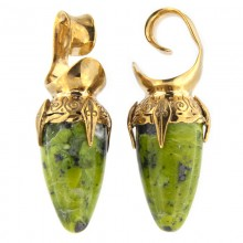 Brass Ear Weights with Lizardite (Norwegian Jade) Drop Stone (price for pair)