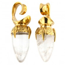 Brass Ear Weights with Quartz Drop Stone (price for pair)