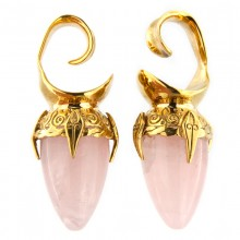 Brass Ear Weights with Rose Quartz Drop Stone (price for pair)