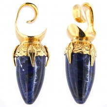 Brass Ear Weights with Sodalite Drop Stone (price for pair)
