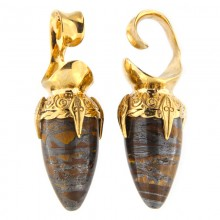 Brass Ear Weights with Tiger Eyes Drop Stone (price for pair)