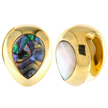Brass Ear Weights with Tear Mother of Pearl (price for pair)