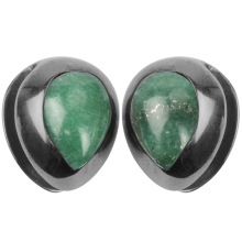 Black Brass Ear Weights with Aventurine Tear Drop (price for pair)