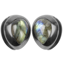 Black Brass Ear Weights with Labradorite Tear Drop (price for pair)