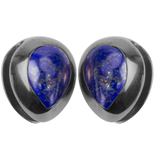 Black Brass Ear Weights with Lapis Lazuli Tear Drop (price for pair)