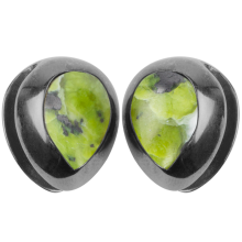 Black Brass Ear Weights with Lizardite (Norwegian Jade) Tear Drop (price for pair)