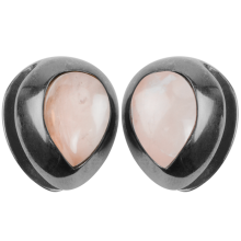 Black Brass Ear Weights with Rose Quartz Tear Drop (price for pair)