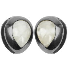 Black Brass Ear Weights with White Onyx Tear Drop (price for pair)