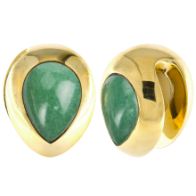 Brass Ear Weights with Aventurine Tear Drop (price for pair)