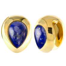 Brass Ear Weights with Lapis Lazuli Tear Drop (price for pair)