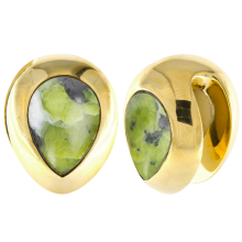 Brass Ear Weights with Lizardite (Norwegian Jade) Tear Drop (price for pair)