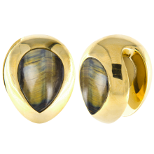 Brass Ear Weights with Tiger Eyes Tear Drop (price for pair)
