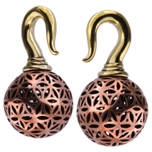 Brass Flower of Life Ball Ear Weights (price for pair)