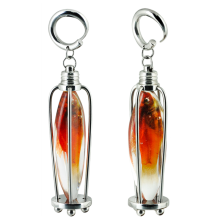 Resin Red Fish Trapped in Steel Pendant Cage (price for pair)