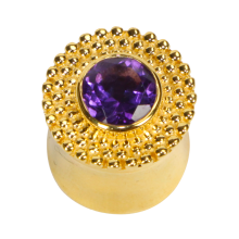 Amethyst Vermeil Gold Tribal Ear Plug (price for pair)