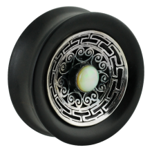 Ebony Plug with Silver Medal and Ethiopian Opal Cabochon (price for pair)