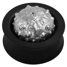 Ebony Plug with Silver Exoskeleton Sea Urchin (Price for Pair)