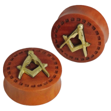 Hand Made Brass and Sawo Wood Plugs (Price for Pair)