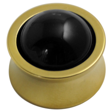 Gold Pvd Titanium Plug with Natural Onyx