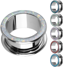 Steel Flesh Tunnel with Synthetic Opal