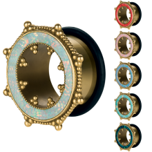 Brass Tunnel with Synthetic Opal