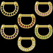 Zircon Steel Jewelled Septum Clicker with Cubic Zirconia