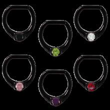Black Steel Jewelled Septum Clicker with Cubic Zirconia