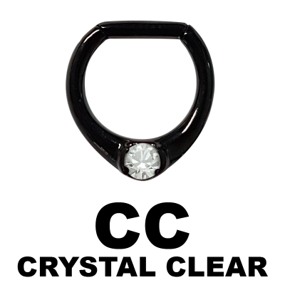 Black Steel Jewelled Septum Clicker with Cubic Zirconia Septum