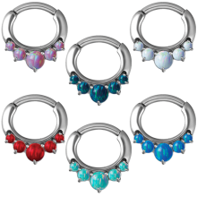 Steel Septum Clicker with Synthetic Opal and Curved Bar