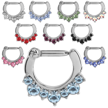 Surgical Steel Round Jewelled Hinged Septum Cliker Ring
