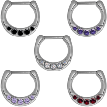 Surgical Steel Jewelled Septum Clicker with Cubic Zirconia