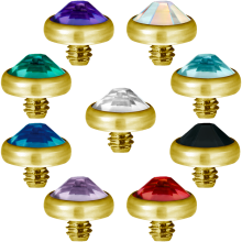 Gold PVD Titanium Jewelled Discs (for 1.6 Internally Threaded Jewellery)