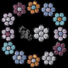 Black Titanium Flower Component with Swarovski Zirconia (for 1.6 internally jewelry)