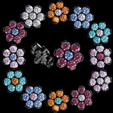 Black Titanium Flower Component with Swarovski Zirconia (for 1.2 internally jewelry)
