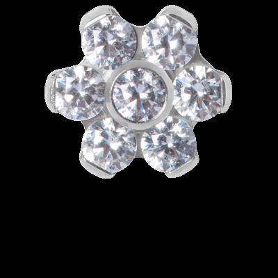 Titanium Flower Component with Swarovski Zirconia (for 1.2 internally jewelry) Balls & Attachments