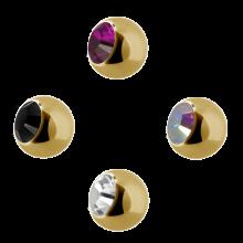 Gold pvd Steel Jewelled Balls with Swarovski Crystal